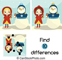 Find the differences educational children game. Kids activity sheet with girl and snowman. Winter outdoor fun theme