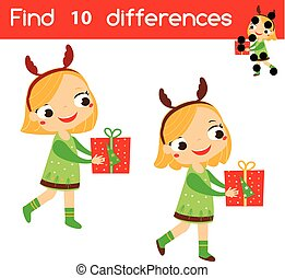 Find the differences educational children game. Kids activity sheet with girl holding gift box. Christmas, New Year theme theme