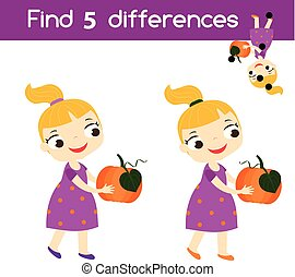 Find the differences educational children game. Kids activity sheet with girl holding pumpkin. Halloween theme