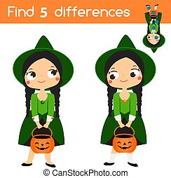 Find the differences educational children game. Kids activity sheet with girl in witch costume. Halloween theme