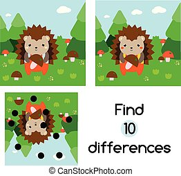 Find the differences educational children game. Kids activity sheet with hedgehog in forest