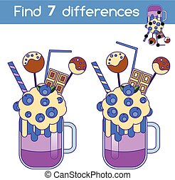 Find the differences educational children game. Kids activity sheet with milkshake