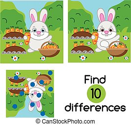 Find the differences educational children game. Kids activity sheet with rabbit in the garden