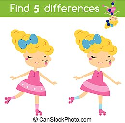 Find the differences educational children game. Kids activity sheet with roller skating girl