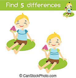 Find the differences educational children game. Kids activity sheet with summer boy eating watermelon