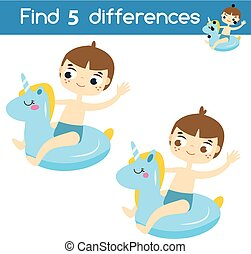 Find the differences educational children game. Kids activity sheet with summer boy