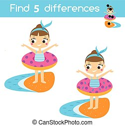 Find the differences educational children game. Kids activity sheet with summer holidays theme