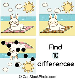 Find the differences educational children game. Kids activity sheet with summer rabbit