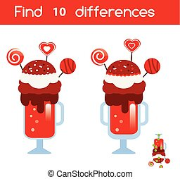 Find the differences educational children game. Kids activity sheet with Valentines milkshake