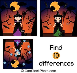 Find the differences educational children game. Kids activity sheet, with halloween witch character