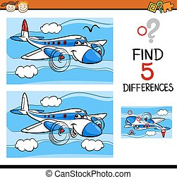 find the differences task - Cartoon Illustration of Finding...
