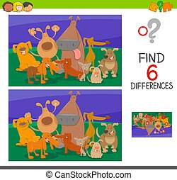 find the differences with dogs cartoon characters