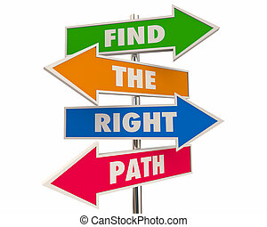 Find the Right Path Best Way Forward Arrow Signs 3d Illustration