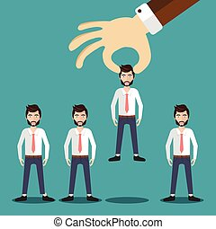 Find the right person for the job concept. Hiring and recruitment. Flat vector design