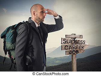 Find the road to business success - Businessman with ...