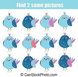 Find the same pictures children educational game. Animals...