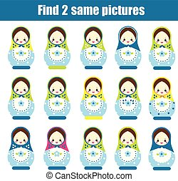 Find the same pictures children educational game. Find pairs...