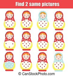 Find the same pictures children educational game. Find same...