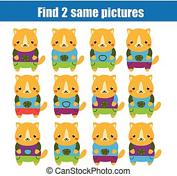 Find the same pictures children educational game. Find two identical cats