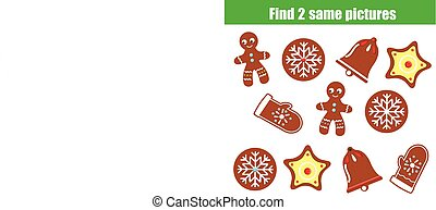 Find the same pictures children educational game. Find two identical Christmas cookies
