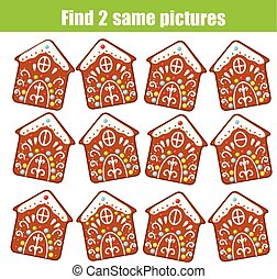 Find the same pictures children educational game. Find two identical Christmas gingerbread cookies