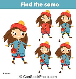 Find the same pictures children educational game. Find two identical girls