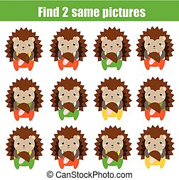 Find the same pictures children educational game. Find two identical hedgehog