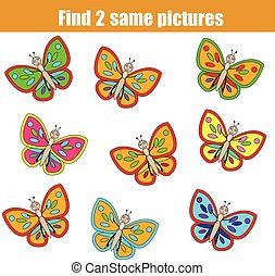 Find the same pictures children educational game with butterflies