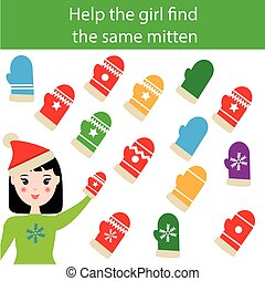 Find the same pictures children educational game with winter mittens