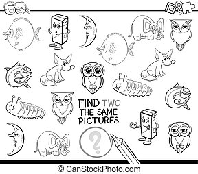 find the same pictures coloring page - Black and White...