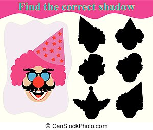 Find the shadow face of clown. Educational kid's game