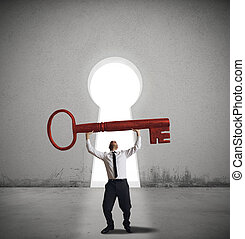 Find the solution key - Businessman find the solution key to...