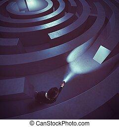 Find the solution - Man with flashlight in a dark maze