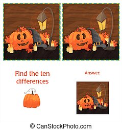 Find the ten differences between the two images with halloween pumpkins