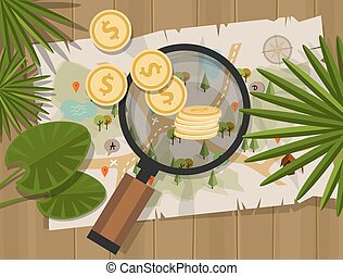 find treasure hunt money map coin vector