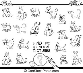 find two identical dog characters color book - Black and...