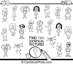 find two identical kid characters coloring book - Black and...