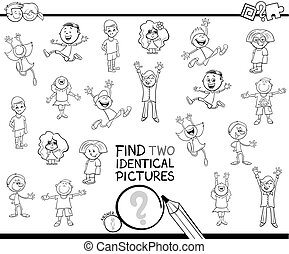 find two identical kids pictures coloring book - Black and ...