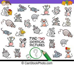 find two identical mice educational activity - Cartoon...