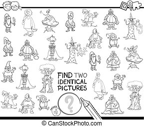 find two identical pictures coloring book - Black and White ...