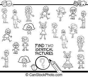 find two identical pictures coloring book - Black and White...
