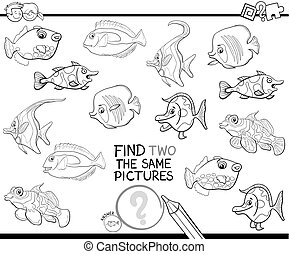 find two identical pictures coloring page - Black and White ...