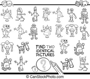 find two identical robots coloring book - Black and White...