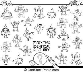 find two identical robots educational color book - Black and...