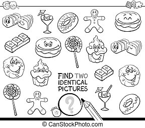 find two identical sweets coloring book