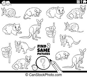 Black and White Cartoon Illustration of Finding Two Same Pictures Educational Game for Children with Wild Animal Characters Coloring Book Page