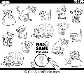 Black and White Cartoon Illustration of Find Two Same Pictures Educational Task for Children with Funny Cats and Kittens Animal Characters Coloring Book Page