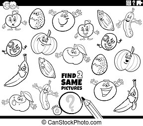Black and White Cartoon Illustration of Finding Two Same Pictures Educational Activity Game for Children with Vegetables and Fruits and Food Characters Coloring Book Page