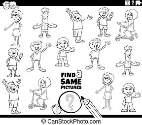 Black and White Cartoon Illustration of Finding Two Same Pictures Educational Activity Game for Children with Girls and Boys Kid Characters Coloring Book Page