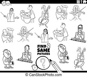 Black and White Cartoon Illustration of Finding Two Same Pictures Educational Task for Children with Musicians Characters Coloring Book Page